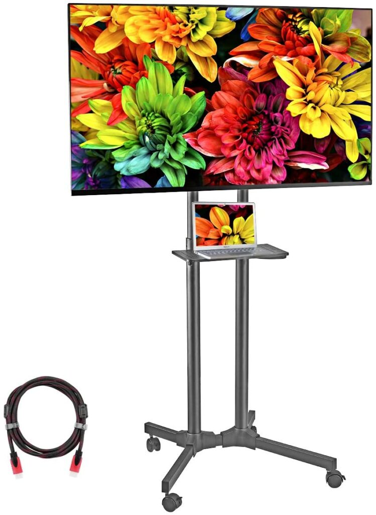 Suptek Mobile TV Cart Rolling TV Stand Mount with Wheels